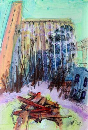 Элеватор на Черниговской появился на картинах дзержинского художника - фото 2